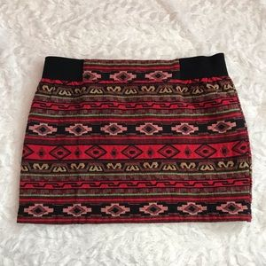 Francesca's El Campo Tribal Mini Skirt